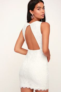 001c30784df Dance to the beat in the Lulus Rhythm of Love White Lace Backless Bodycon  Dress!
