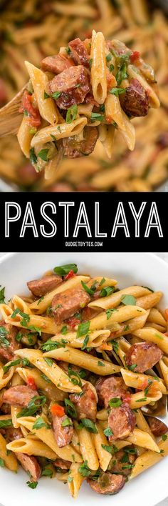 Celebrate like you're in Louisiana with this easy, filling, and inexpensive one pot favorite, Pastalaya. It's the shortcut pasta version of Jambalaya! (Baking Pasta With Ground Beef) Pasta Recipes, Dinner Recipes, Cooking Recipes, Casserole Recipes, Donut Recipes, Easy One Pot Meals, Mets, Pasta Dishes, Entrees