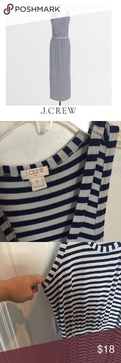 """J. Crew Navy & White Striped Stretch Maxi Dress J. Crew Navy & White Striped Stretch Maxi Dress. 16.5"""" bust. Approx 58"""" long. 14"""" elastic waist, you can kind of adjust the length with elastic. Side slits. Gently worn. Great condition. Feel free to make an offer or bundle & save! J. Crew Dresses Maxi"""