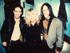 Marianne Faithfull :  A rare polaroid of Marianne with Jeff Buckley (who died 20 years ago today) and Iggy Pop, 1996