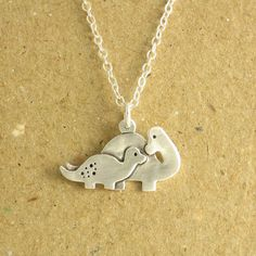 Dinosaur Necklace Mother and Baby Dinosaur Necklace by Dragonfly65, $85.00