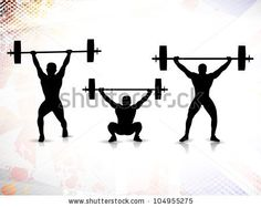 Sequence of weight lifting, silhouette of a weight lifter on grungy colorful background. EPS 10. by Allies Interactive, via ShutterStock