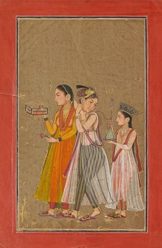 Zenana Women playing at cross dressing. Mandi, attributed to the Early Master at the Court of Mandi and/or his atelier, c.1650.