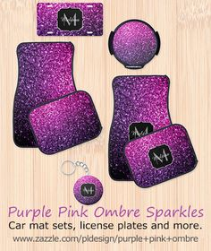 Purple Pink Ombre sparkles car mat set, license plate, keychain and more by #PLdesign #PinkSparkles #SparklesGift
