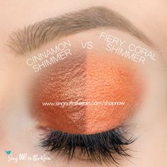 Fiery Coral Shimmer and Cinnamon Shimmer ShadowSense side by side comparison.  These long-lasting SeneGence eyeshadows help create envious eye looks.  #eyeshadow #shadowsense