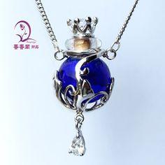 5 x Murano Glas ätherisches Öl Flasche Anhänger Necklace(Assorted Colors), Parfüm Flasche Halskette, Aroma-Diffusor-Halskette