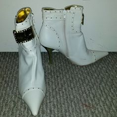 Booties Off white and gold studded 3 inch booties Baby Phat Shoes Ankle Boots & Booties