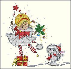christmas cross stitch fairy and rabbit Marina Fedotova Cross Stitch Fairy, Cross Stitch Angels, Xmas Cross Stitch, Counted Cross Stitch Patterns, Cross Stitch Charts, Cross Stitching, Cross Stitch Embroidery, Embroidery Patterns, Christmas Fairy