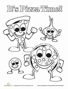 pizza coloring page - Pizza Coloring Pages