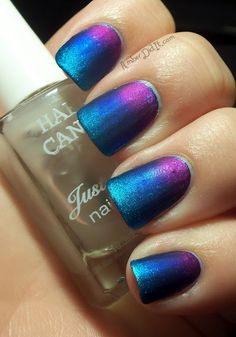 Purple and blue gradient nails