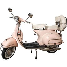 Fully Restored 1963 Pink with White Leather Vintage Italian, Piaggio... (156.987.125 IDR) ❤ liked on Polyvore featuring filler