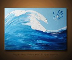 Ocean Wave Painting Blue Light Sky White Horses Large 36x24 High Quality Original Finger Painting Mo