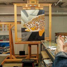 Job ❤#feetupfriday #workingloose #create #admaddox #makingart #nzbrowntrout #abstractart #oilpainting #flyfishingart www.admaddox.com