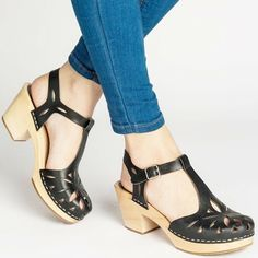 SWEDISH HASBEENS Mary Jane T-Strap Clog Sandal Lacy Perforated T-Bar Platform 39 #SwedishHasbeens #ClogSandals #Casual Clog Sandals, T Strap Sandals, Leather Clogs, Black Leather, Swedish Hasbeens, Wooden Clogs, Sky High, Beautiful Shoes, Mary Janes