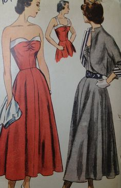 Simplicity 2817 Bust 36 Vintage sewing pattern. 1950s dress 1949 New Look Strapless Sundress. Bolero jacket. Rockabilly via Etsy