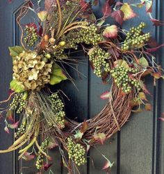 Fall Wreath-Orange Berry Branches-Wispy Twig-Halloween-Thanksgiving-Grapevine Door Wreath Decor-Floral-Door Decoration-Indoor/Outdoor Summer Wreath Fall Wreath Berry Twig by AnExtraordinaryGift Wreath Crafts, Diy Wreath, Door Wreaths, Grapevine Wreath, Wreath Ideas, Grapevine Christmas, Burlap Wreath, Autumn Wreaths, Holiday Wreaths