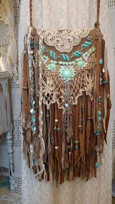 Handmade Tan Suede Leather Fringe Vintage Lace Bag Gypsy Boho Hobo Purse tmyers | Clothing, Shoes & Accessories, Women's Handbags & Bags, Handbags & Purses | eBay!
