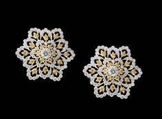 Buccellati boucles d'oreilles fleur et diamant