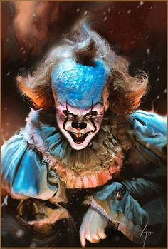 Perfect color fan art of Pennywise clown from Stephen King horror IT, done by artist Rudy Nurdiawan Scary Clown Mask, Scary Clowns, Evil Clowns, Clown Horror, Horror Art, Horror Movies, Demon Drawings, It The Clown Movie, Clown Tattoo