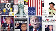 As capas dos jornais de todo o mundo rivalizam no dramatismo com que apresentam a vitória de Donald Trump. Algumas mais imaginativas que outras, oscilam entre a surpresa, a interrogação e o medo.