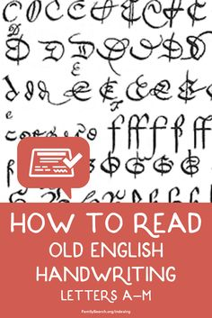 How can you read that Old English Handwriting letters a-m? Use these examples to read important records of your ancestors. English Handwriting, Free Family Tree, Family Search, Old English, Things To Know, Journal Inspiration, Ancestry, Family History, Genealogy