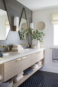 Navy Blue Small Diamond Tile Bathroom Floor by… | Fireclay Tile Brick Bathroom, Bathroom Floor Tiles, Bathroom Plumbing, Bathroom Inspo, Fireclay Tile, Blue Tiles, Color Tile, Chelsea, Interior Design
