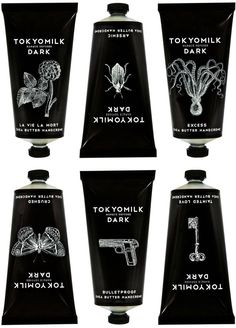 Tokyomilk. I love the black and whites used for this packaging and that they are travel sized. The illustrations on each one are done superbly-- like an etched stencil.