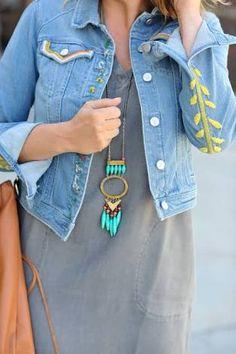Resultado de imagem para embroidered denim jacket