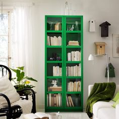 Green bookcase #IKEA I love the pop of color, but maybe red?