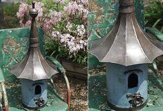 Large Metal Birdhouse - From Antiquefarmhouse.com - http://www.antiquefarmhouse.com/current-sale-events/garden11/metal-birdhouse.html