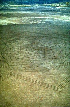"""A very large, perfectly formed, ancient Hindu mandala called the Sri Yantra was discovered inscribed into the dry lake bed by an Air National Guard pilot on a normal training run from a base near Boise, Idaho. This symbol was over a quarter of a mile in length, and consisted of over 13 miles of lines etched into the impacted mud 3""""-10"""" deep."""