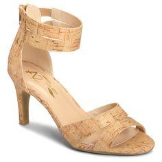 Women's A2 by Aerosoles Proclamation Cross Strap Heeled Sandals - Cork (Brown) 10.5