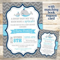 Whale Baby Shower Invitation Nautical Baby By JustRightDesigns954