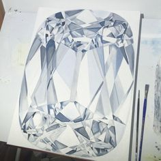 The first coat of this commissioned #longcushion #diamond is done! Now I wait to dry and add colors  @raj_greatdiam #sundayfunday #studiosunday #art #painting #diamondlife #cushioncut #artfido #painting #oilpaint #diamondpainter