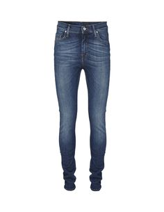 Tiger Of Sweden Kelly Jeans-Women's medium blue high-waist, super-slim leg, five-pocket jeans in 12-ounce denim. The wash is called Star and is a mid blue wash with a lot of depth and characteristic vertical slubs making the wash look amazingly authentic yet clean. Natural whiskers and smooth scrapings, classic styling with tobacco stitching and tin button and rivets make this a great look for everyday use. Leather logo label on waistband.