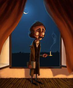 Edgar Allan Poe///Charming and comical Illustrations of Greg Hartman