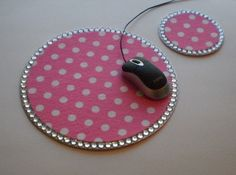 POLKA DOT & BLING Princess Mousepad/Coaster by LaurieBCreations, $13.00