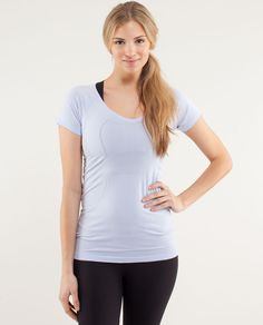 The deep V-neck of this anti-stink shirt makes it easy to slip on and off, even over sweaty-run-head.