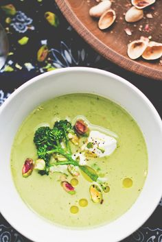broccoli  pistachio soup...make with veggie stock