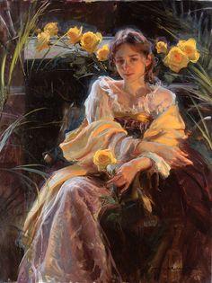 Daniel F. Gerhartz 1965 | American Figurative painter | Ladies with flowers