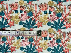 White Nautical Fabric Coral Reef Cotton Fabric, Ocean Fabric, Seaside Fabric Coastal Fabric, Ocean Fabric, Nursery Fabric, Rescue Dogs, Fabric Crafts, Seaside, Nautical, Cotton Fabric