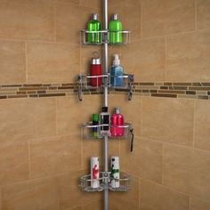 New Bengal Tension Rustproof Shower Caddy by Rebrilliant top rated furniture sale. offers on top store Corner Shower Caddy, Hanging Shower Caddy, Shower Caddies, Shower Chair, Bathtub Shower, Shower Enclosure, Easy Bathroom Updates, Bathroom Ideas, Bathtub Accessories