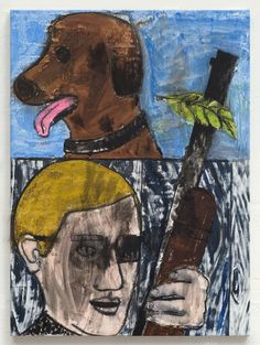 Stuart Cumberland - Brown Dog & Man with Gun, 2015 / Oil on linen / 75 x 55 cm