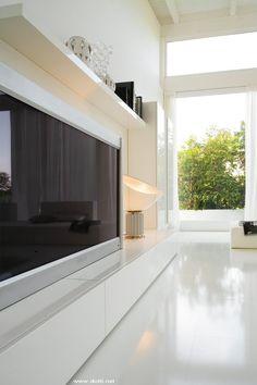 Essential Landscape mobile soggiorno pensili verticali laccato bianco lucido base porta TV det