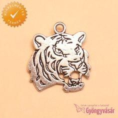 Ezüstszínű tigrisportré - nikkelmentes fém medál • Gyöngyvásár.hu