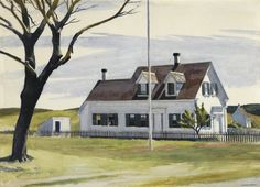 Arbol seco y vista lateral de la Casa Lombard. Edward Hopper