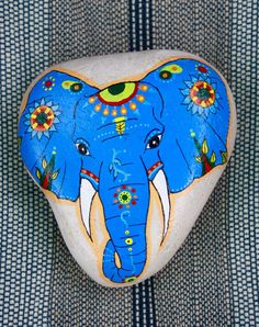 Blue Elephant Face Stone by QuietLittlePlace on Etsy