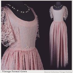 """Pink Formal Lace Ball Gown • $89.50 • • BUST: 36""""  WAIST: 28"""" LENGTH: 60"""" • • Available Listing: https://www.etsy.com/listing/201064169/vintage-custom-floral-lace-gown-material • Interconnections: Etsy.com/shop/MaterialCollections Facebook.com/MaterialCollections Instagram.com/Tulsa.Vintage Twitter.com/MCollectionsVTG MaterialCollections.tumblr.com Pinterest.com/TulsaVintage • Help our environment one, two, or even a few vintage items at a time. Every listing of ours has a past, its present…"""