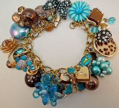 Turquoise and Chocolate Repurposed Vintage Jewelry by Modulation, $80.00