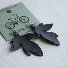 Layered Leaf Earrings - upcycled from bike inner tubes